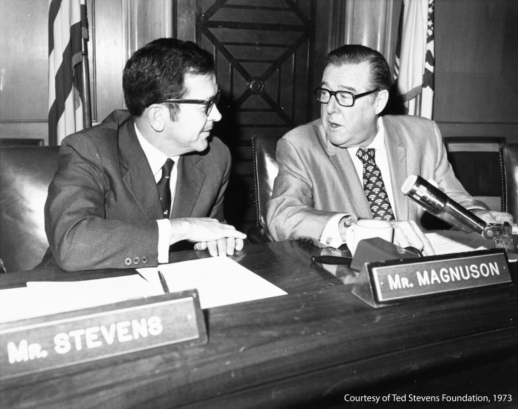 Senators Warren Magnuson and Ted Stevens